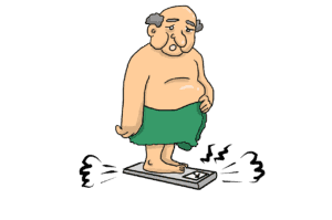 overweight cartoon of man on scale