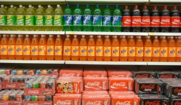 soda on shelves in supermarket