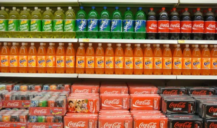 soda on shelves in supermarket