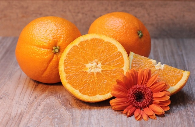 oranges and a flower