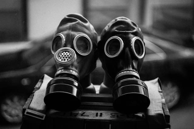 two gas masks to prevent toxicity